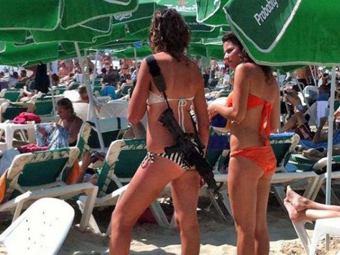 IDF Girls on The Beach With Guns